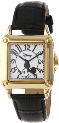 EWatchFactory Disney Women's W000475 Mickey Mouse Gold-Tone Watch with Black Faux Leather Band