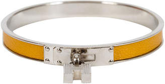 One Kings Lane Vintage HermAs Yellow Lock Bangle Bracelet - Vintage Lux