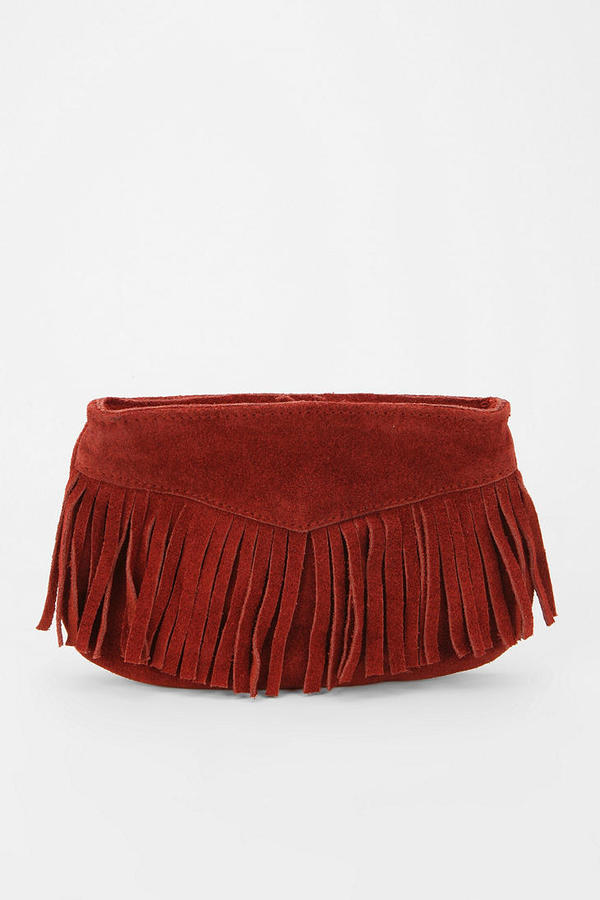 Ecote Suede Fringe Pouch
