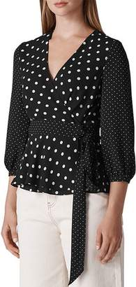 Whistles Polka-Dot Wrap Top