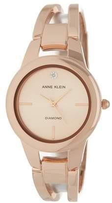 Anne Klein Women's Round Case Rose-Gold Bangle Watch, 32.6mm