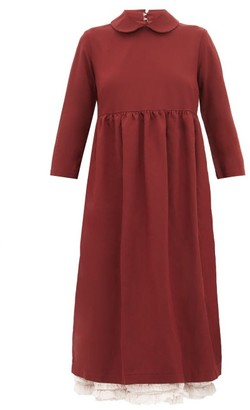 Comme des Garcons Ruffle Layer Twill Midi Smock Dress - Womens - Burgundy