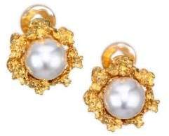 Kenneth Jay Lane 12MM Round Simulated Faux Pearl Stud Earrings