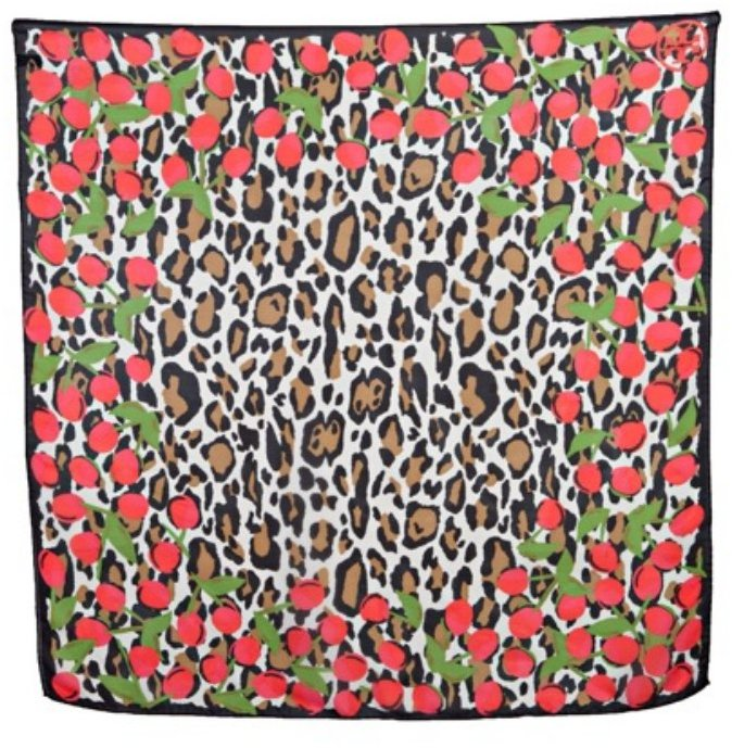 Tory Burch leopard and cherry print silk chiffon scarf