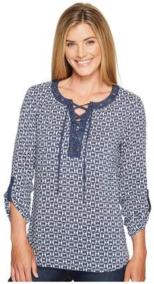 Tribal Long Sleeve Blouse w/ Neck Lace-Up and Roll Up Sleeve Detail Women's Blouse