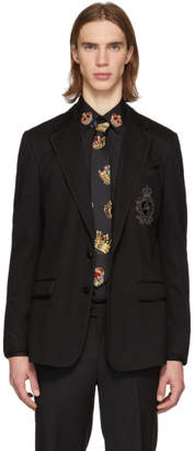 Dolce & Gabbana Black Embroidered Logo Blazer