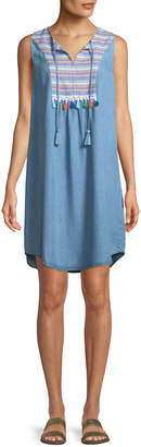 Neiman Marcus Tribal-Jacquard Tie-Neck Shift Dress