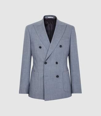 Reiss Worley - Wool Double Breasted Blazer in Light Blue