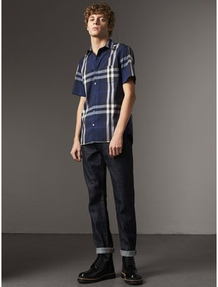 Burberry Short-sleeved Check Stretch Cotton Shirt , Size: XXXL, Blue