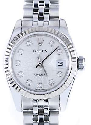 Rolex Datejust Jubilee Silver Diamond Dial 18K White Gold Fluted Bezel Watch