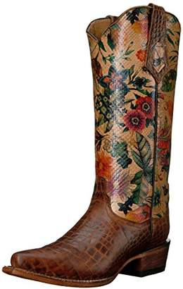 Ferrini Women's Ladies Print Belly Gator Vintage V-Toe Western Boot
