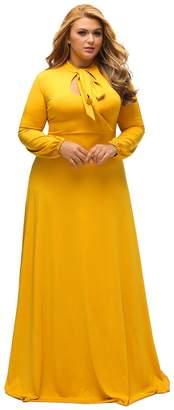 Lalagen Women's Vintage Long Sleeve Plus Size Evening Party Maxi Dress Gown XL
