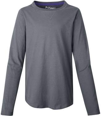 Hanes Girls` V-Notch Shirttail Long-Sleeve Crewneck T-Shirt, K249, S