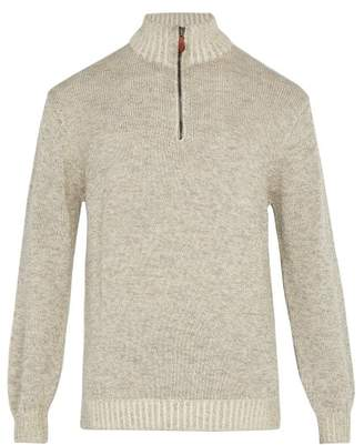 BEIGE Inis Meáin Inis Meain - Half Zip Alpaca And Silk Blend Sweater - Mens