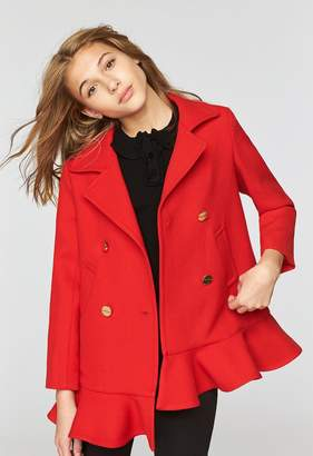 Milly Doubleface Wool Ruffle Peacoat