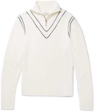 You As - Archer Stripe-Trimmed Wool Half-Zip Sweater