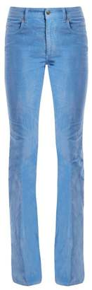 Gucci Mid Rise Flared Stretch Cotton Corduroy Trousers - Womens - Blue