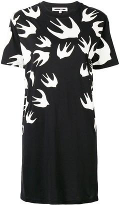 McQ swallow print T-shirt dress