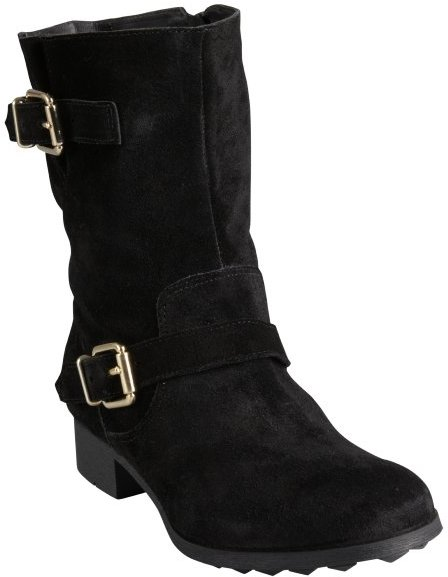 Madison Harding black leather 'Janet' suede buckle ankle boots