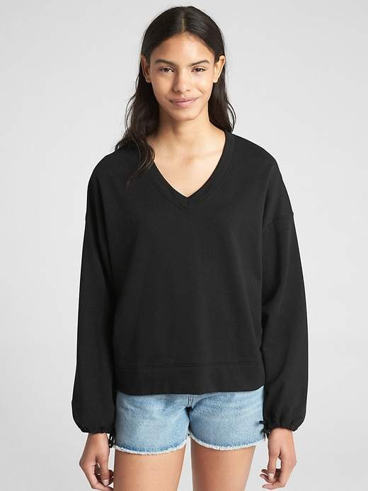 Balloon Sleeve Pullover Sweatshirt in French Terry