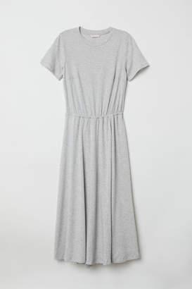H&M Short-sleeved Jersey Dress - Gray