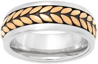 Lynx LYNXMen's Tri Tone Stainless Steel Tread Ring