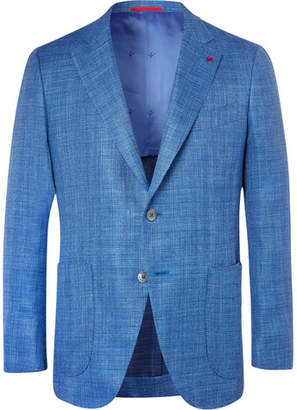 Isaia Blue Sailor Wool, Silk And Linen-Blend Blazer