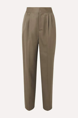 Ambush Intarsia-trimmed Wool-twill Pants - Gray green