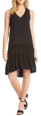 Karen Kane Double Ruffle Hem Crepe Dress