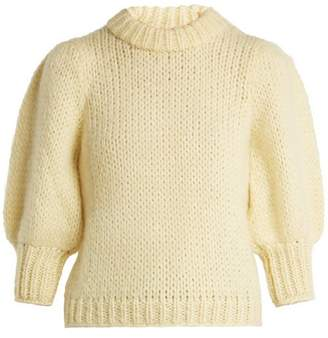 Ganni Julliard Puff Sleeve Mohair And Wool Blend Sweater - Womens - Yellow