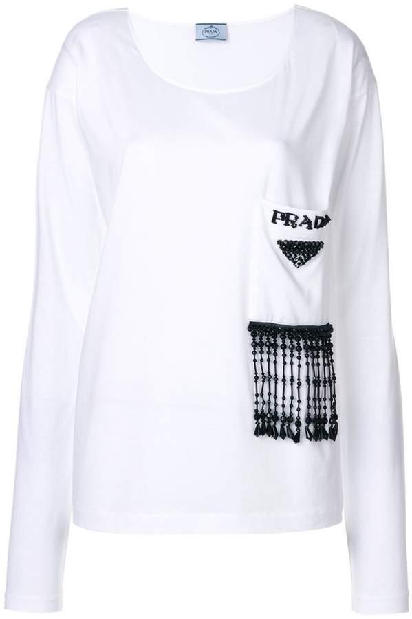 Prada glass beaded longsleeved T-shirt