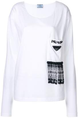 Prada glass beaded longsleeved T-shirt