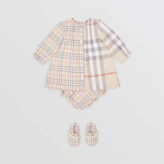Burberry Childrens Contrast Check Cotton Dress with Bloomers
