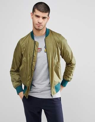 Paul Smith Zip Through Bomber Jacket In Green