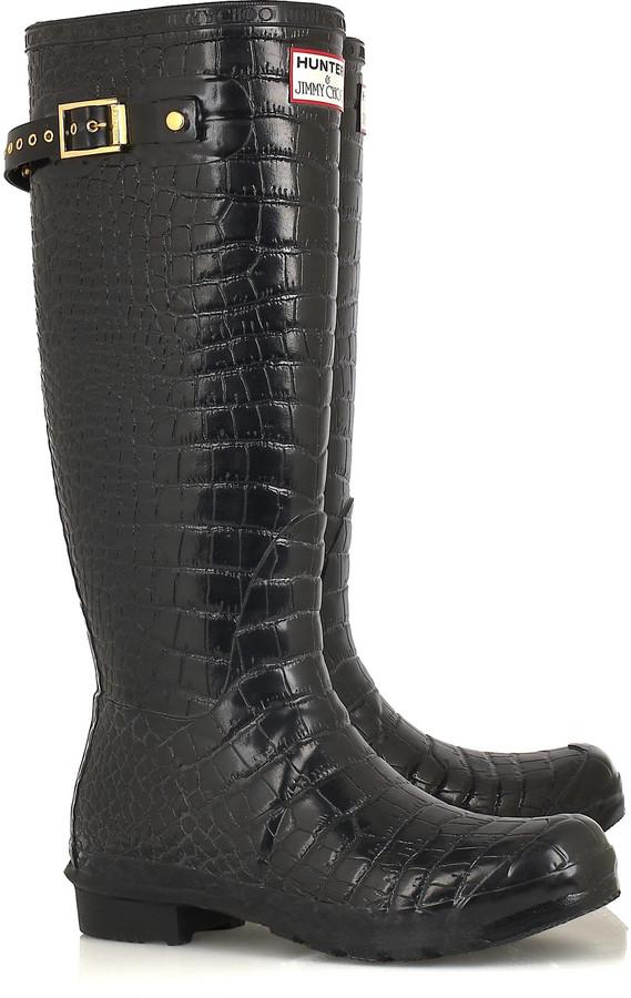 Jimmy Choo Crocodile-print Wellington boots