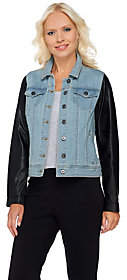 Lisa Rinna Collection Denim Jacket with FauxLeather Sleeves