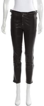 Belstaff Leather Mid-Rise Pants Black Leather Mid-Rise Pants