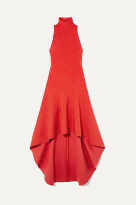 SOLACE London Bahar Asymmetric Ruffled Crepe Midi Dress - Red
