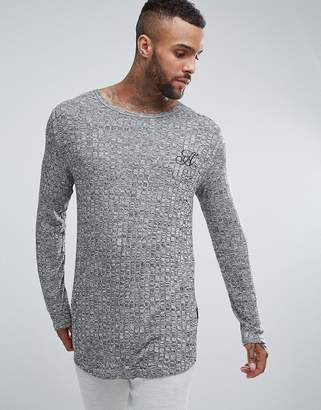 Ascend Long Sleeve Curved Hem Muscle Fit Top in Rib