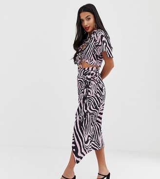 8a3ece761566 John Zack Petite wrap midi skirt with tie in pink zebra print