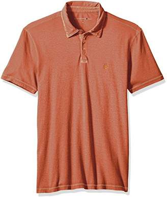 John Varvatos Men's Short Sleeved Cut and Sew Polo with Peace Sign Emb