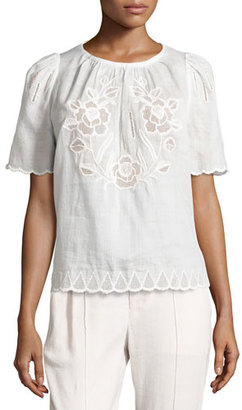 Isabel Marant Pleated Eyelet Short-Sleeve Blouse, White $475 thestylecure.com