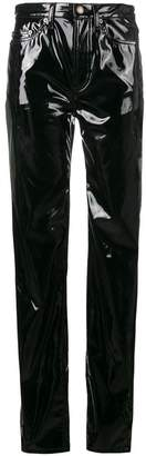 Saint Laurent mid-rise boyfriend slim vinyl jeans