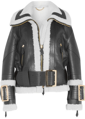 Burberry - Leather-trimmed Shearling Jacket - Black $3,995 thestylecure.com