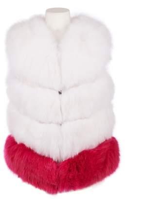 Popski London Chelsea Fox Fur Gilet In Frost With Hot Pink Stripe