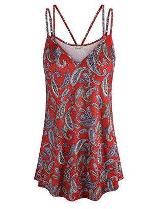 Cyanstyle Women's Flowy V Neck Double Spaghetti Strap Tank Tops Camisole Shirts (
