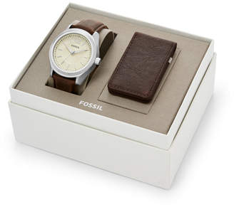 Fossil Editor Three-Hand Brown Leather Watch And Wallet Box Set