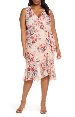 Eliza J Floral Sleeveless Chiffon Dress