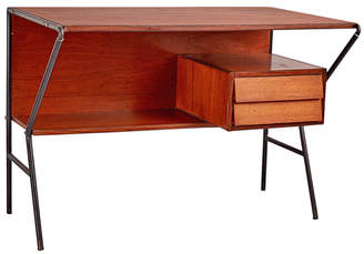 Rejuvenation Italian Mid-Century Desk w/ Steel Frame & Louvered Drawers