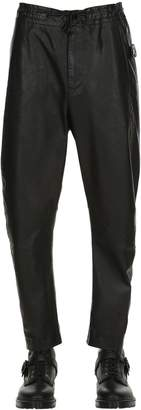 Isabel Benenato Low Crotch Leather Wide Leg Pants